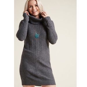 ModCloth Cowl Neck Long Sleeve Sweater Dress